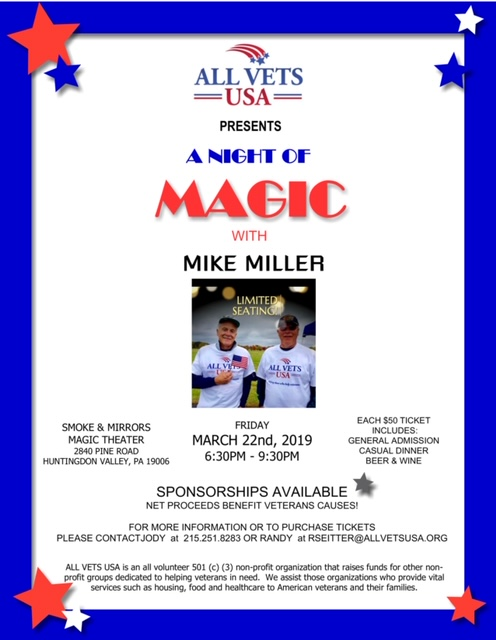 Annual Magic Show Fundraiser to benefit veteran's | 3/22/2019 at 6:30 PM - 9:30 PM